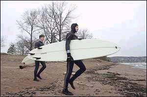 Springtime Surfing on Lake Superior, Duluth, MN