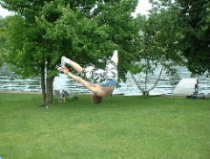 Toe touch backflip. dont worry i made fun of him!