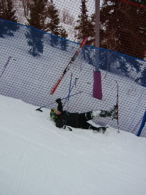 Katie crashing into the fencing on the 2002 Olympic Downhill Course at Snowbasin, UT