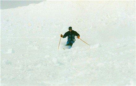 Skiing on old avalance, Lake Louise, AB