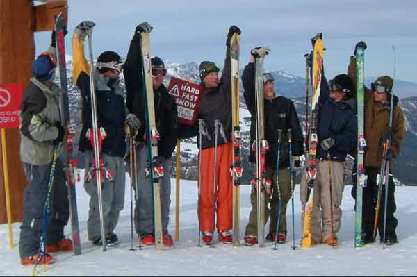 Plake and the boys out on some REAL skis