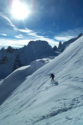 Skiing in front of the Dent du Geant