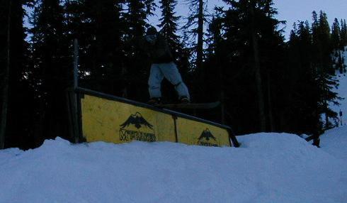Boardslide the rail at Baker, 1/08/03.