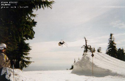 Lincoln loop during the last slopestyle comp at grouse Spring 2002