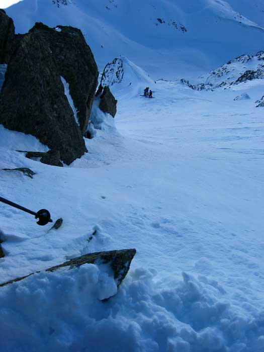 Part 5 First Pitch (55 degrees) of the North East Couloir. Those are cliffs below to the right