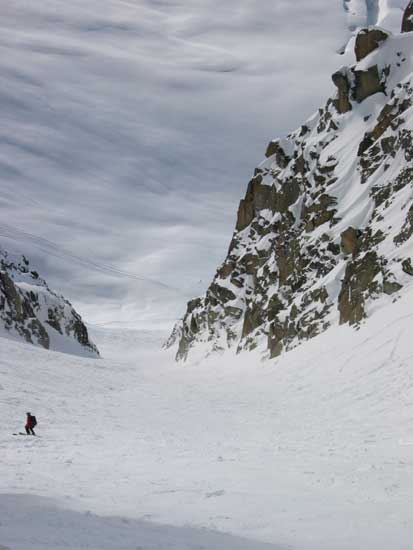 Looking down the Couloir, this is soooo long steep and good