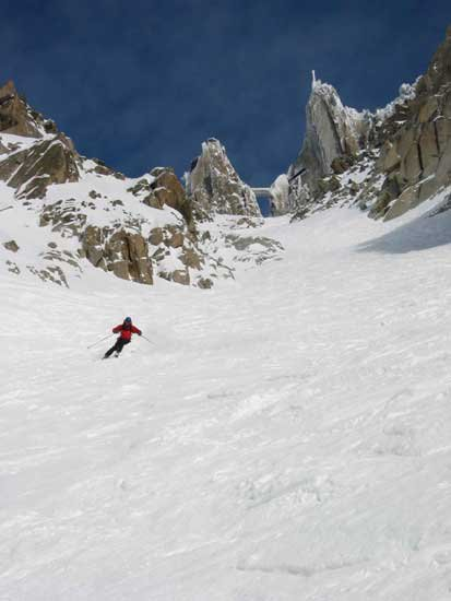 Tim Screaming down the couloir and laying some nice turns. There was so much sluff that the mountain