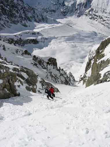 Getting first tracks in this classic cham couloir!