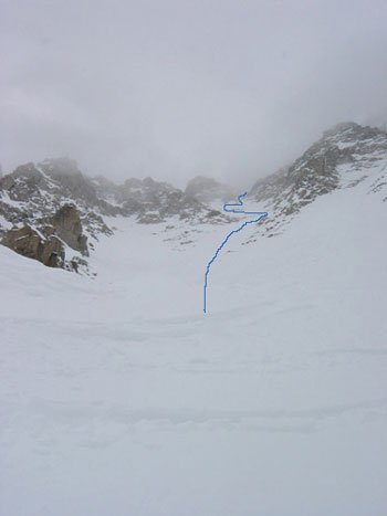 Some good snow and some bad - we had to loop round the rock band in the middle area