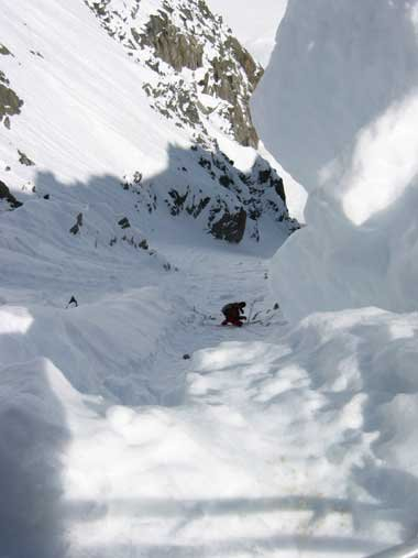 Rapping into the couloir