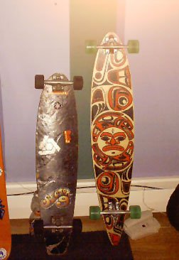 longboards, my new one is on the right.