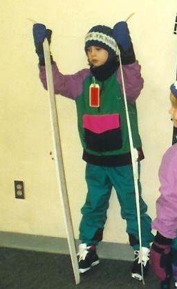 Me with my skis when I was eight, yay!