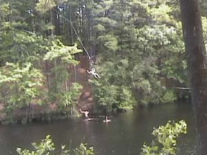 huge rope swing into water