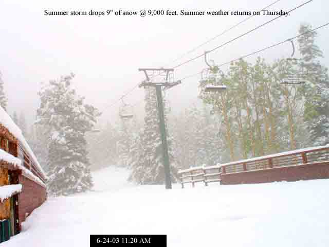 "Summer storm drops 9"" of snow @ 9,000 feet"
