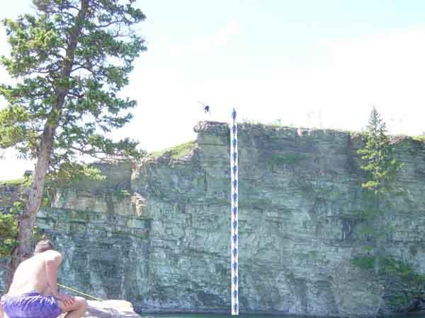 Cork 9 off an 80 foot cliff