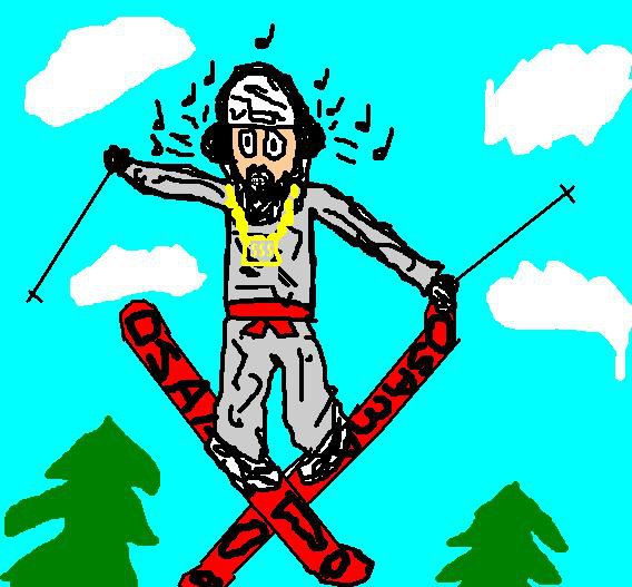 osama bustin a grab on his new rocket launcher powder skis