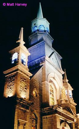 Nicely lit church in Old Montreal - 30 second exposure