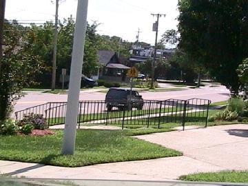 damn sweet rail in front of church