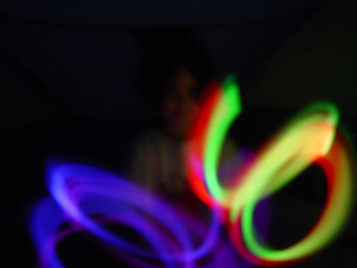 glow sticks in the tent