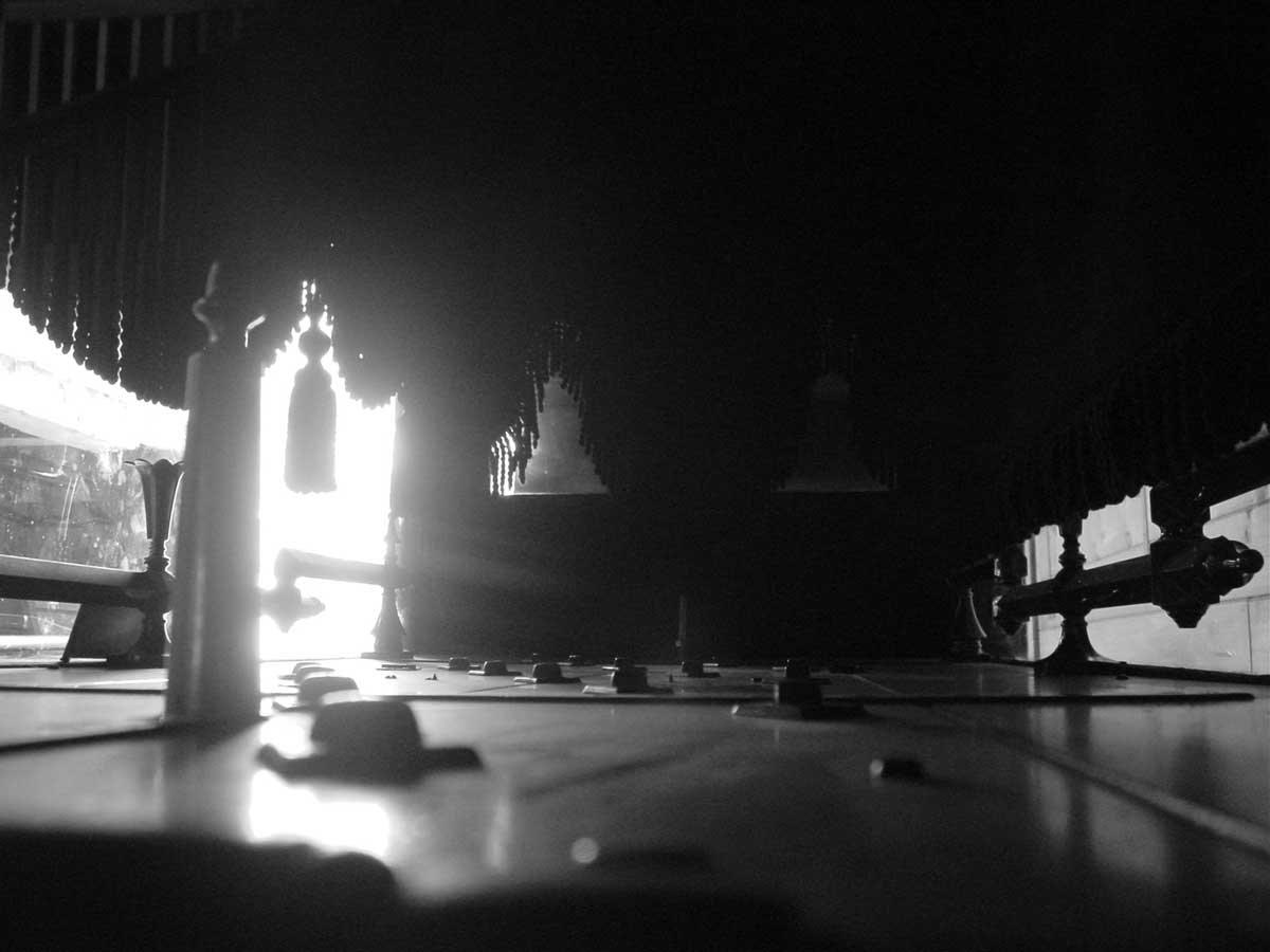 interior of antique hearse
