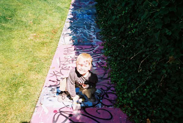here is the future people, 3 years old does cork 3's on the tramp and paints graffiti