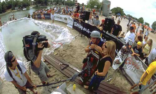 Me interviewing Wakeboarding World Champ Brett Eisenhauer at Wakestock Worldcup 2003 for OLN