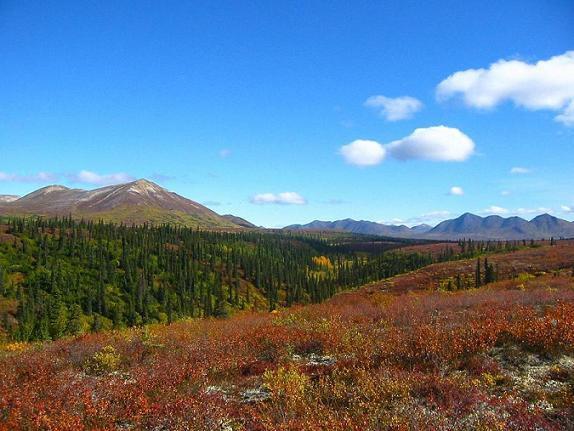 Mountain ranges surrounding Wells Creek, Alaska