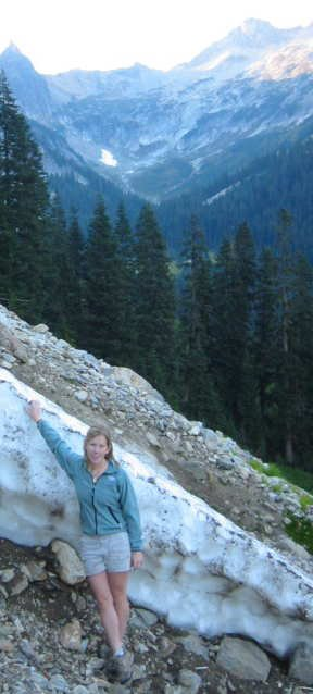 just chillin on the snow on a august evening in the cascades