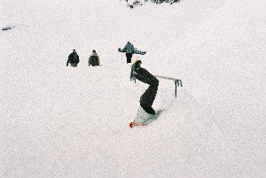 OUCH, Snowboarder gets axed!