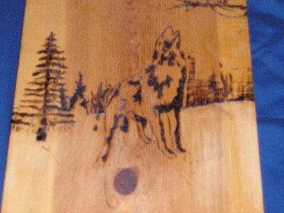 Wood Burning of a Wolf