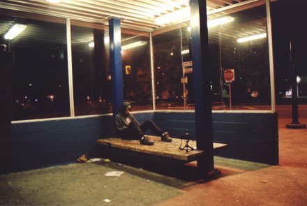 Bus loop at night.