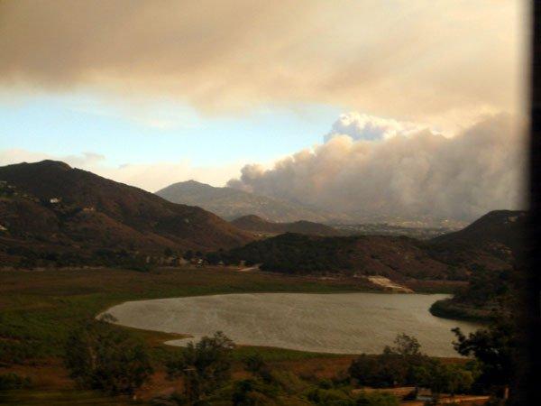 smoke over the hills
