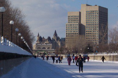 skating on the Rideau canal in Februauy
