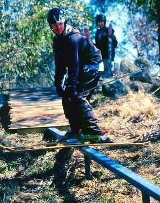Ramone killin' it on Sammy Halls backyard rail