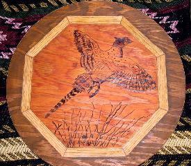 Wood burning of pheasant + frame work