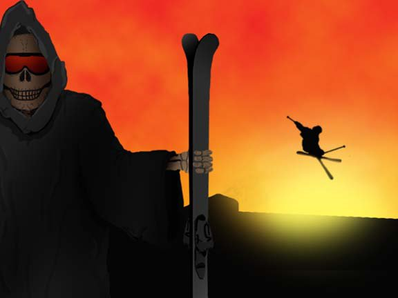 Grim Reaper With Skis (99% from scratch in Photoshop)