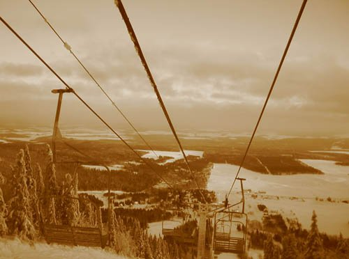 playing with sepia while riding up an old double
