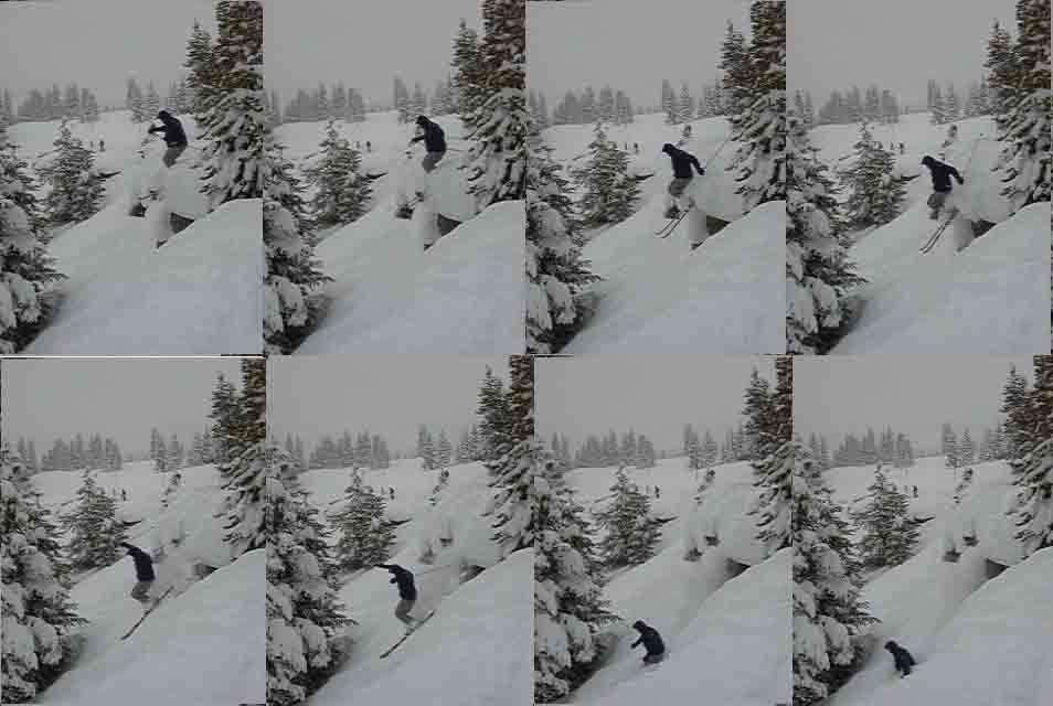 Cliff into deep powder