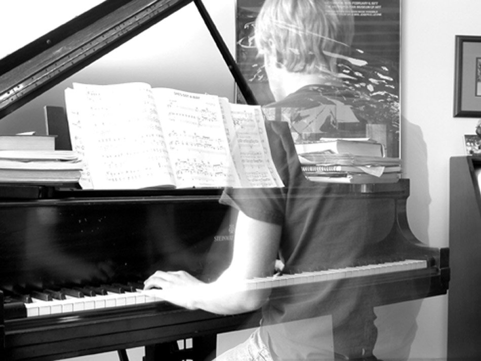 Transparent Playing Piano