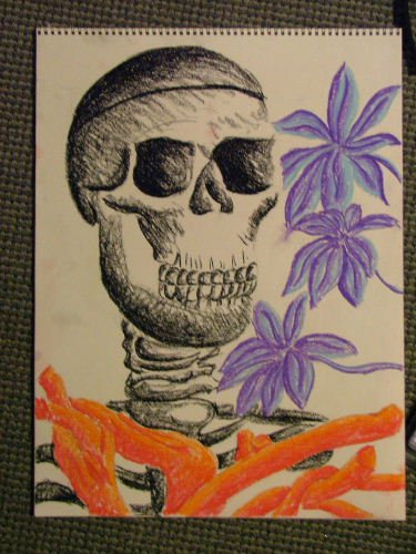 Sick Drawing, of skeleton and roots and stuff, vibrant colors