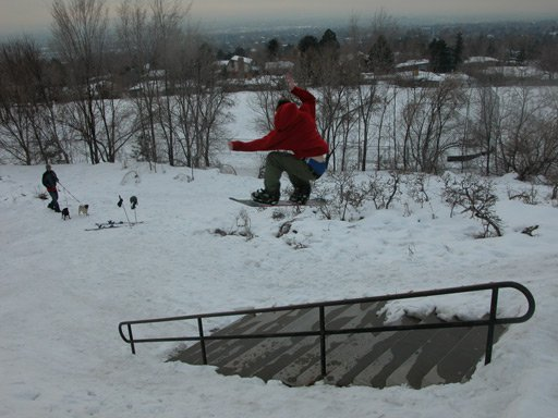 Snowboard 180 over 16 stair