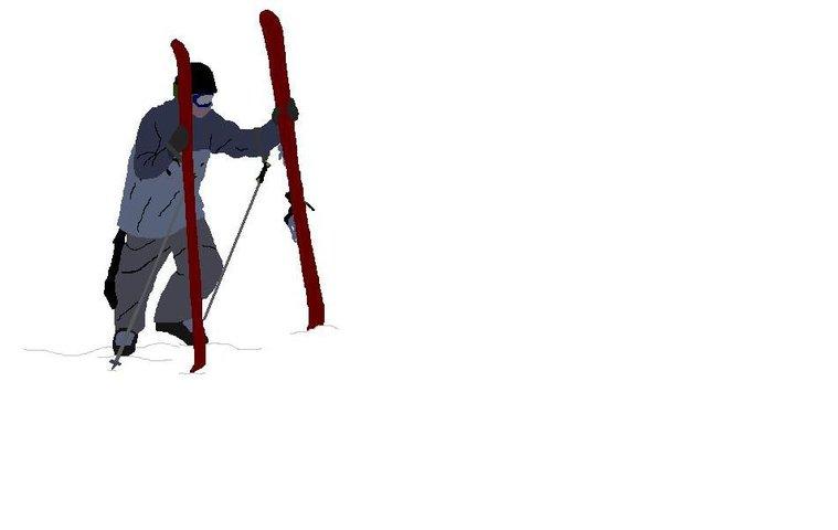 skier hiking cartoon for shirt