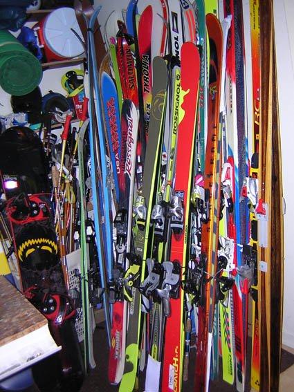 New ski, old ski, older ski, even older skis, oldest skis, super old skis