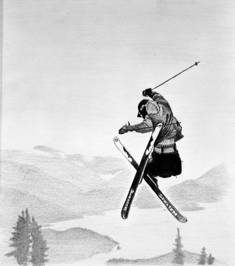 sketch of a skier hitting a jump