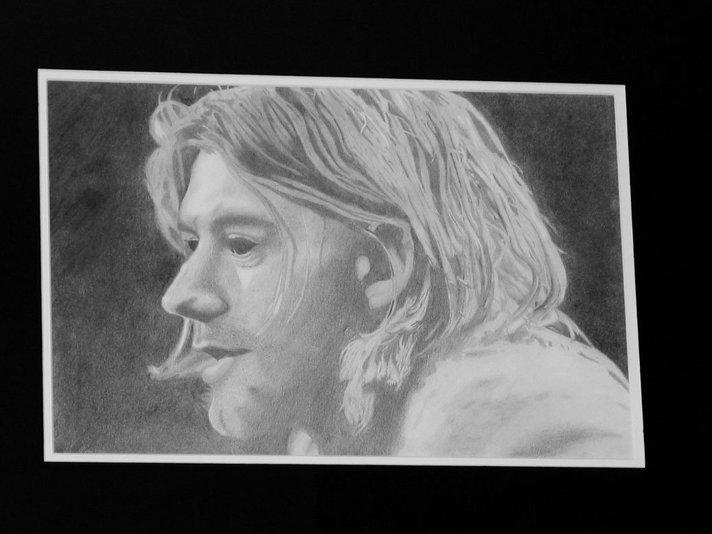 pencil sketch of curt kobain