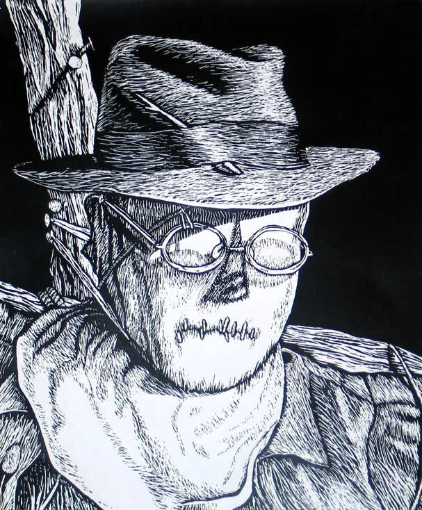 scratchboard of a scarecrow