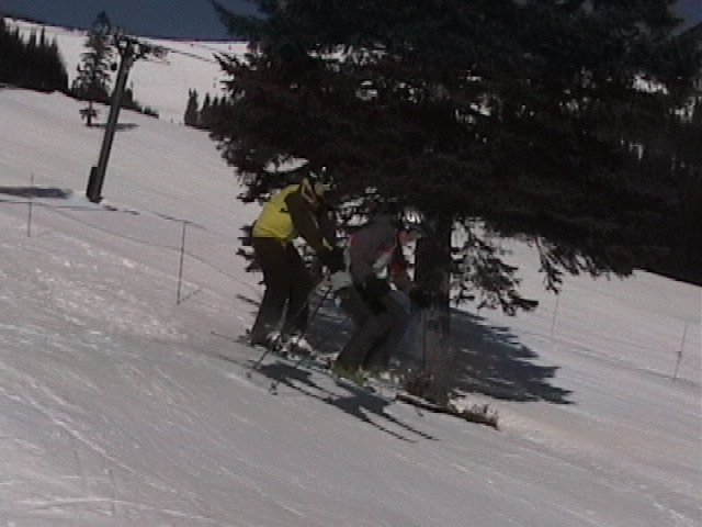 "Catching air on ""TANDEM SKIS"""