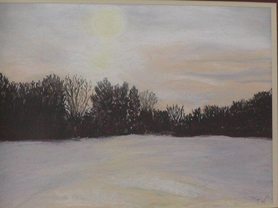 pastel of snow sunset