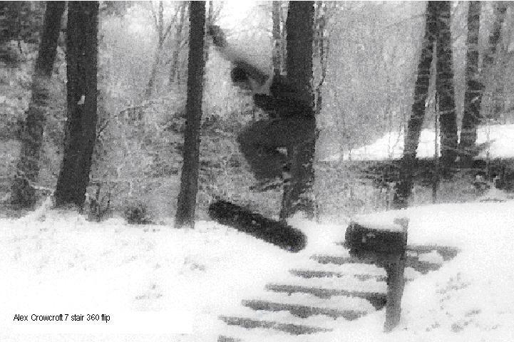 3flip over a 7 stair on a Snowskate
