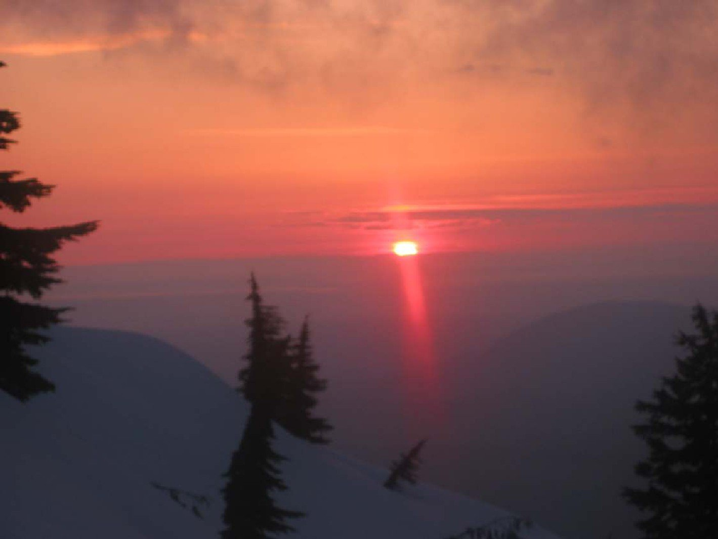 Top of mt. Pilchuck Sunset